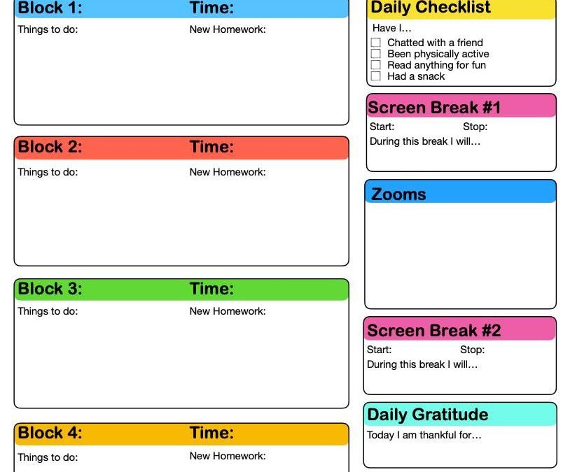 Helping Students Plan Their Online Learning Days